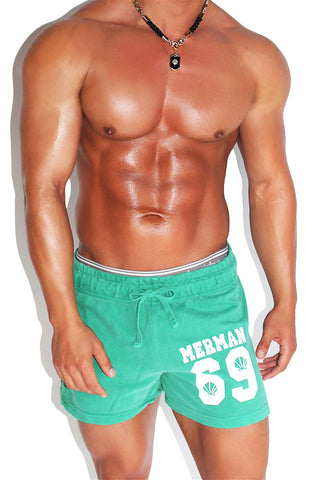 Cactus Metallic Running Shorts- Green
