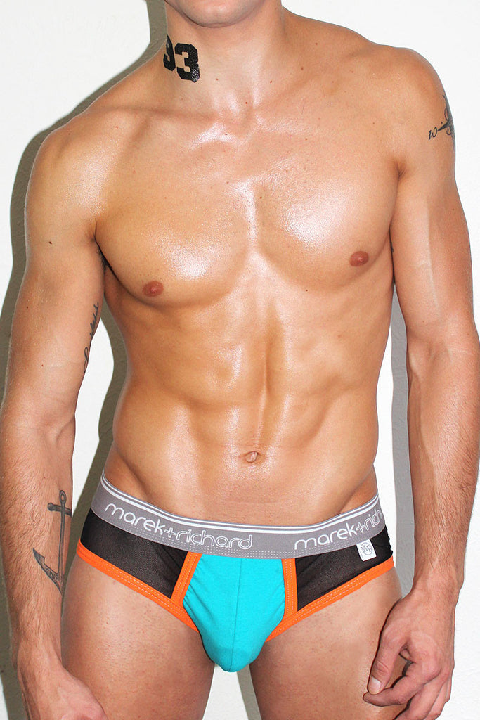 Out of the Closet Mesh Brief- Turq