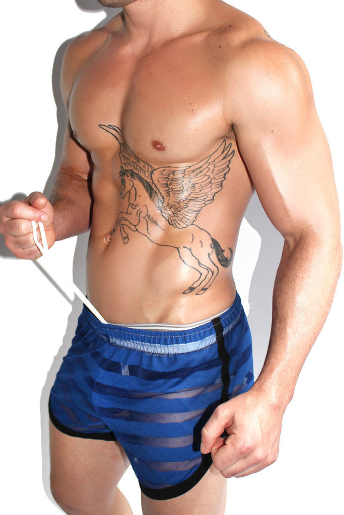 Striped Mesh Running Shorts-Blue