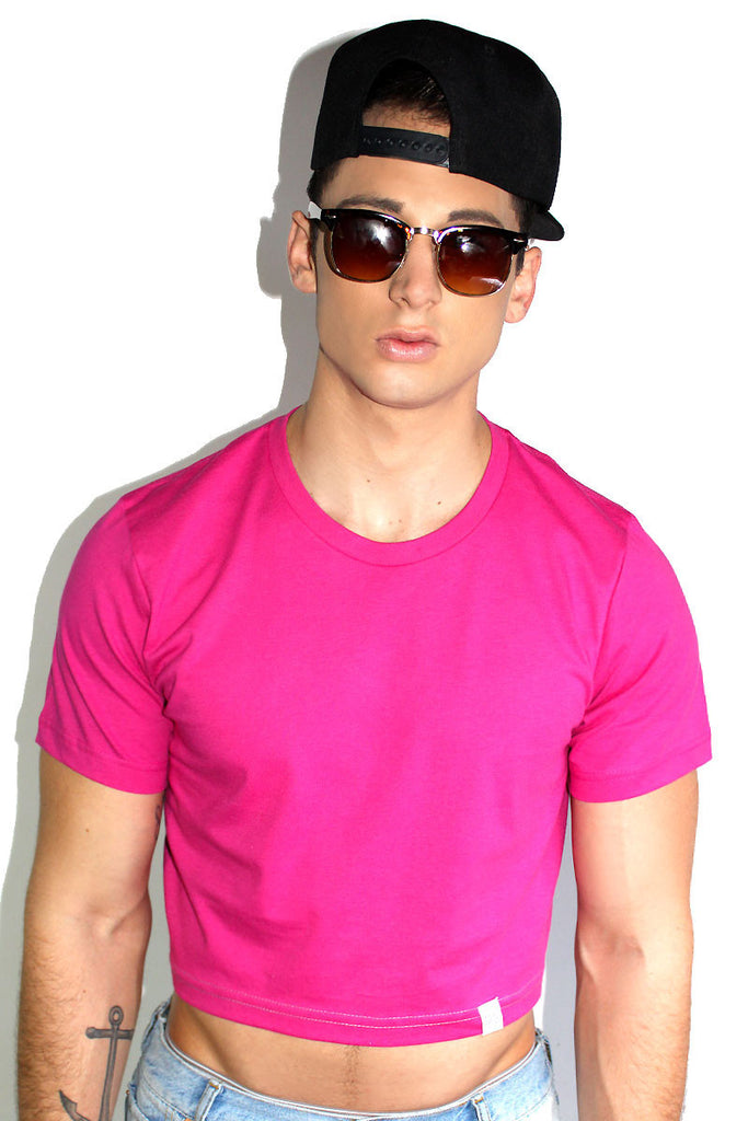 Core Crop Tee-Fuchsia