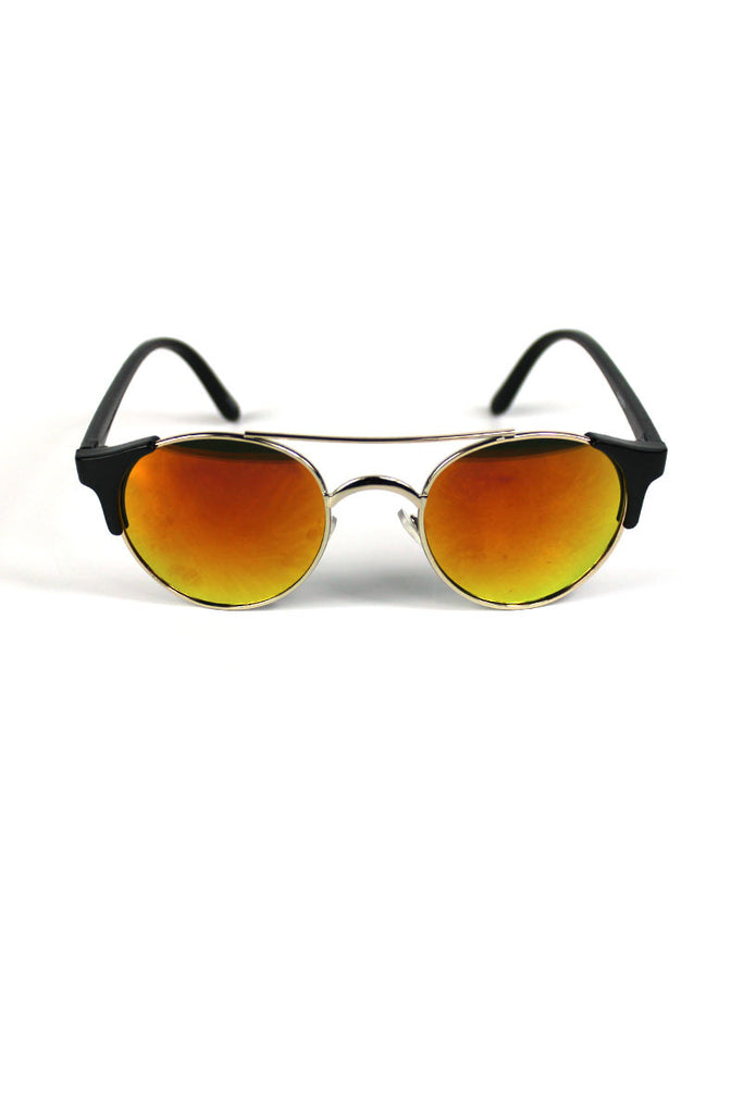 Boston Half Rim Rainbow Sunglasses- Orange