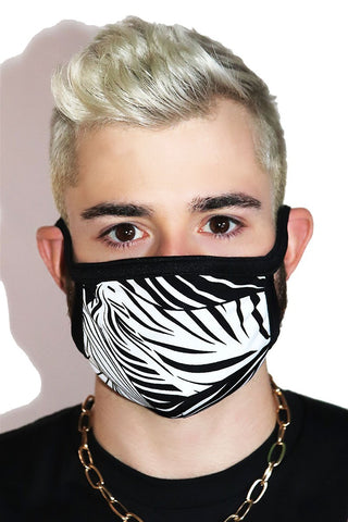 Jungle Monochrome Face Mask- Black