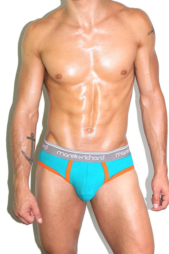 Monster Face Open Back Brief- Teal