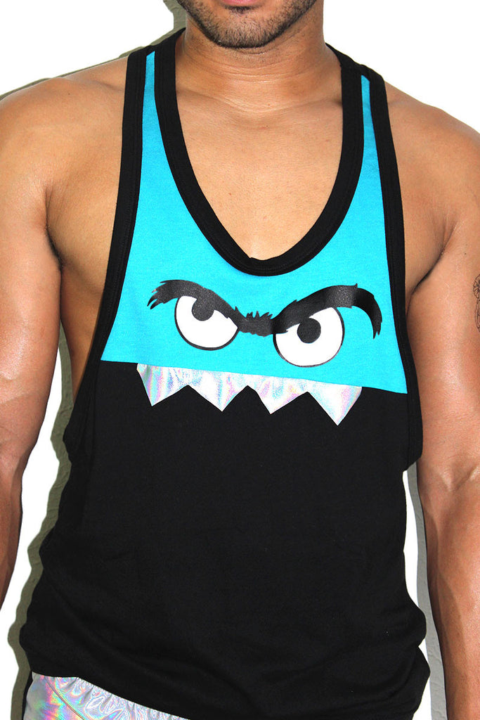Monster Face Racerback Tank-Turq