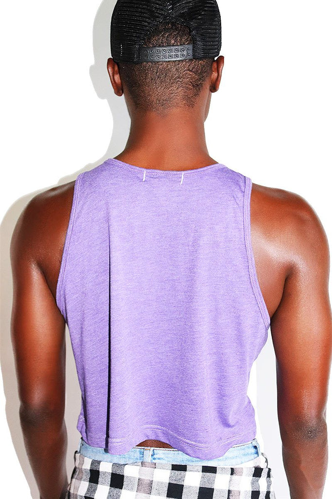 Moon Shine Alien Crop Racerback Tank-Purple