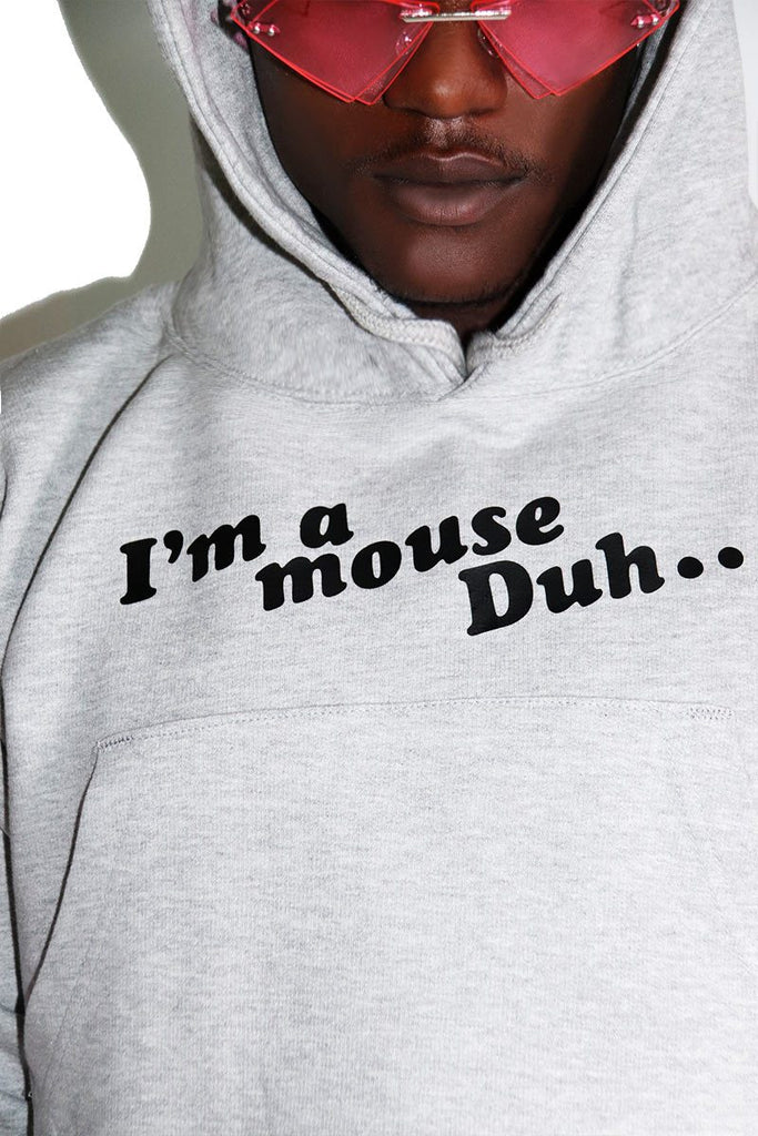 I'm a Mouse Crop Hoodie-Grey