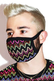 Retro Chevron Face Mask- Black