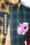 Anarchy Multi Plaid Crop Shirt- Navy