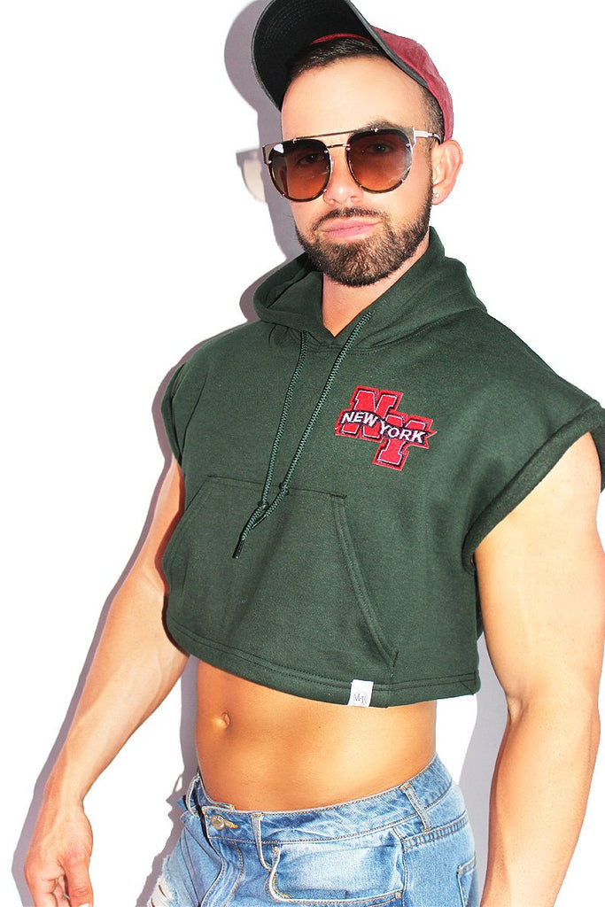 New York Sleeveless Hoodie-Green