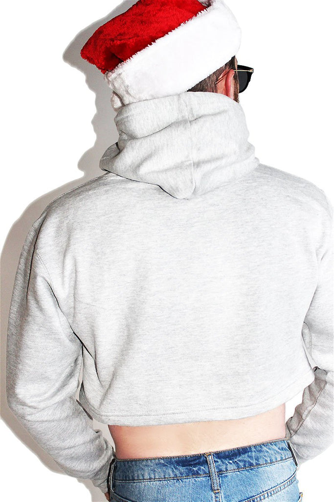Naughty List Crop Hoodie-Grey