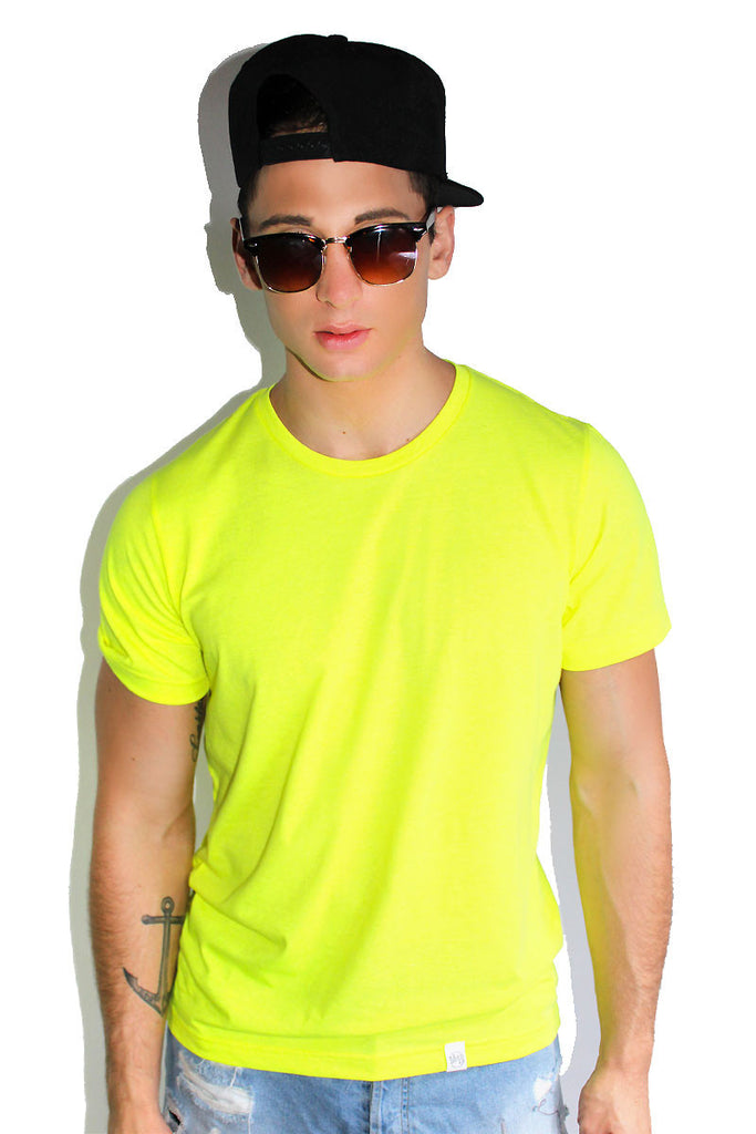 Core Crewneck Tee-Neon Yellow
