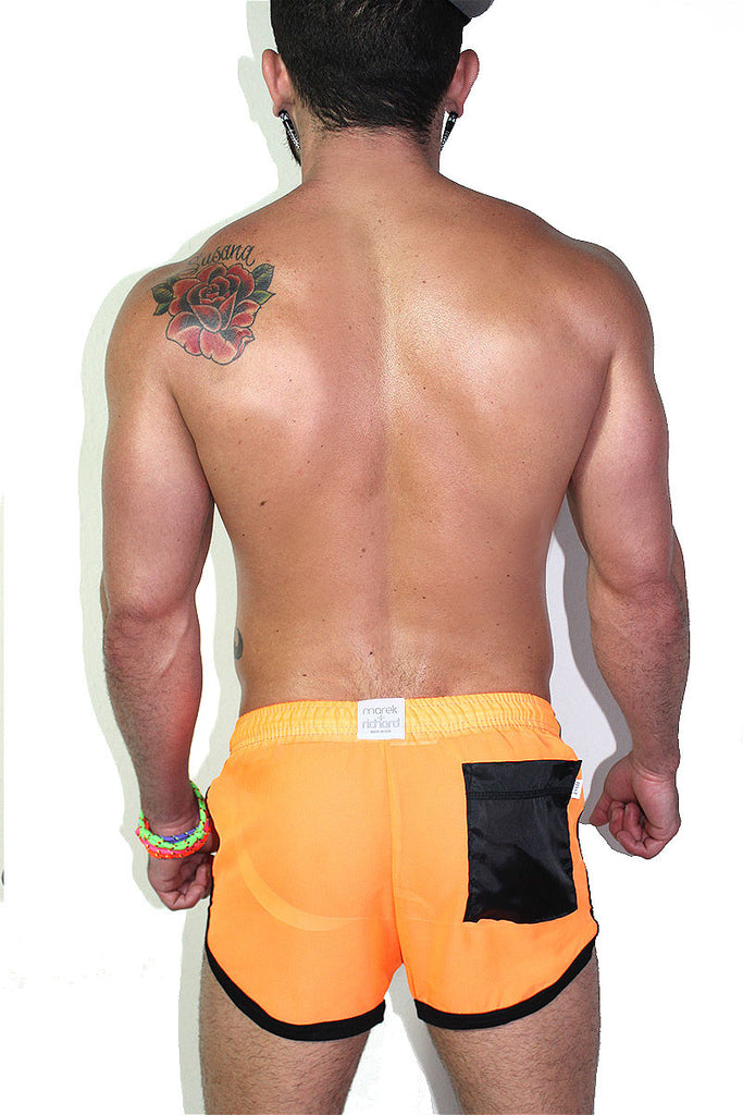 Neon Orange Running Shorts- Orange