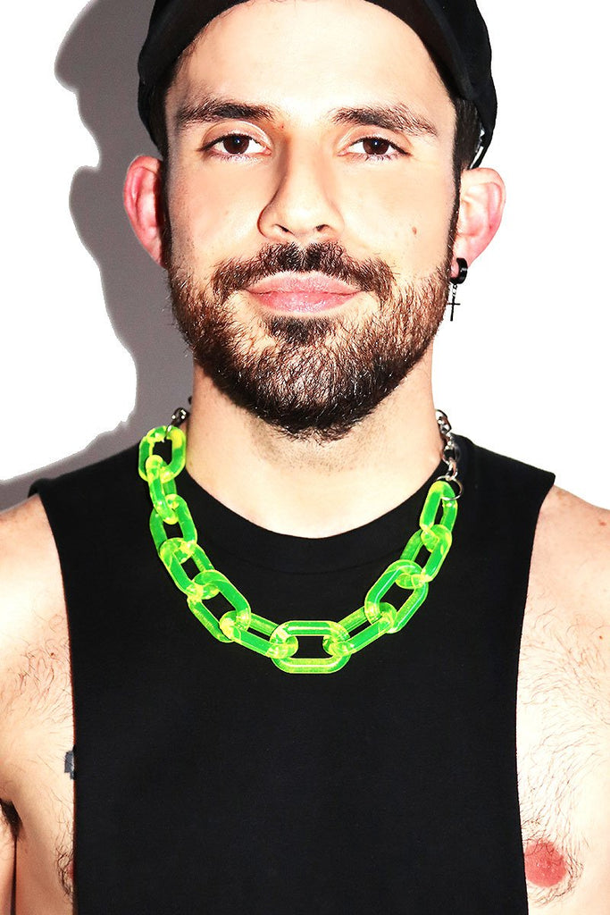 Acrylic Chain Choker Necklace- Neon Yellow