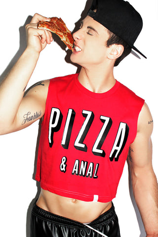 Pizza and Anal Crop Tank-Red