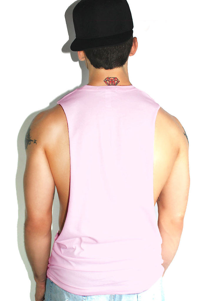 No Fats No Fems Low Arm Tank- Pink Sparkle
