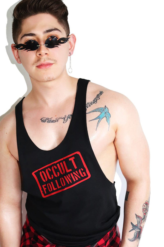 Occult Following String Tank-Black