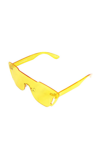 Clear Square Sunglasses-Yellow