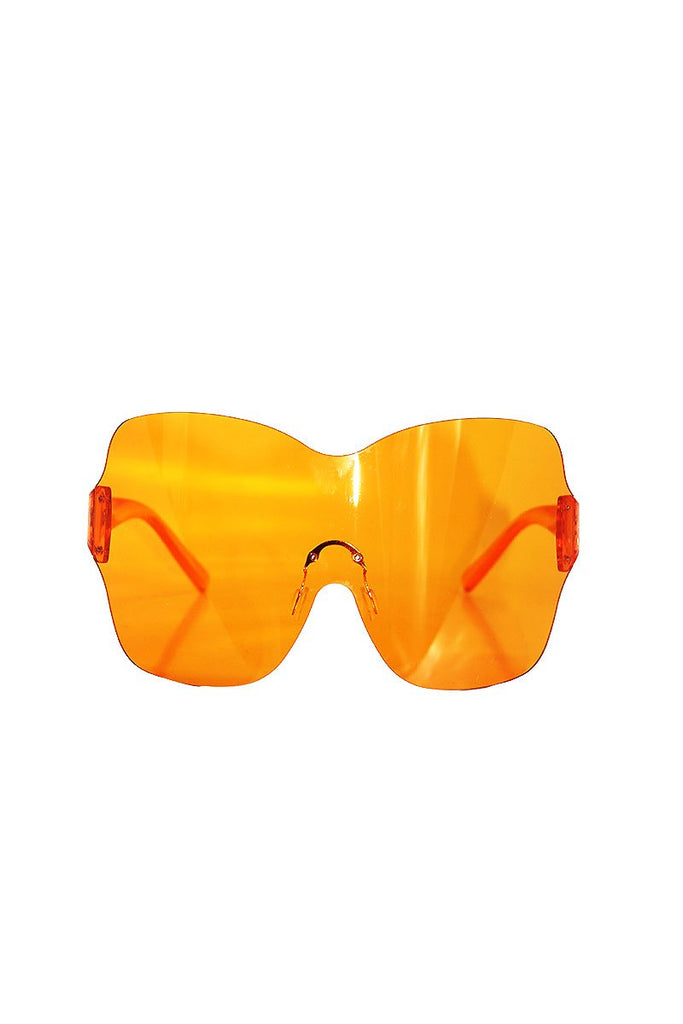 Clear Ovesized Shield Sunglasses-Orange