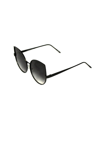 Oversized Cat Eye Thin Frame Sunglasses-Black