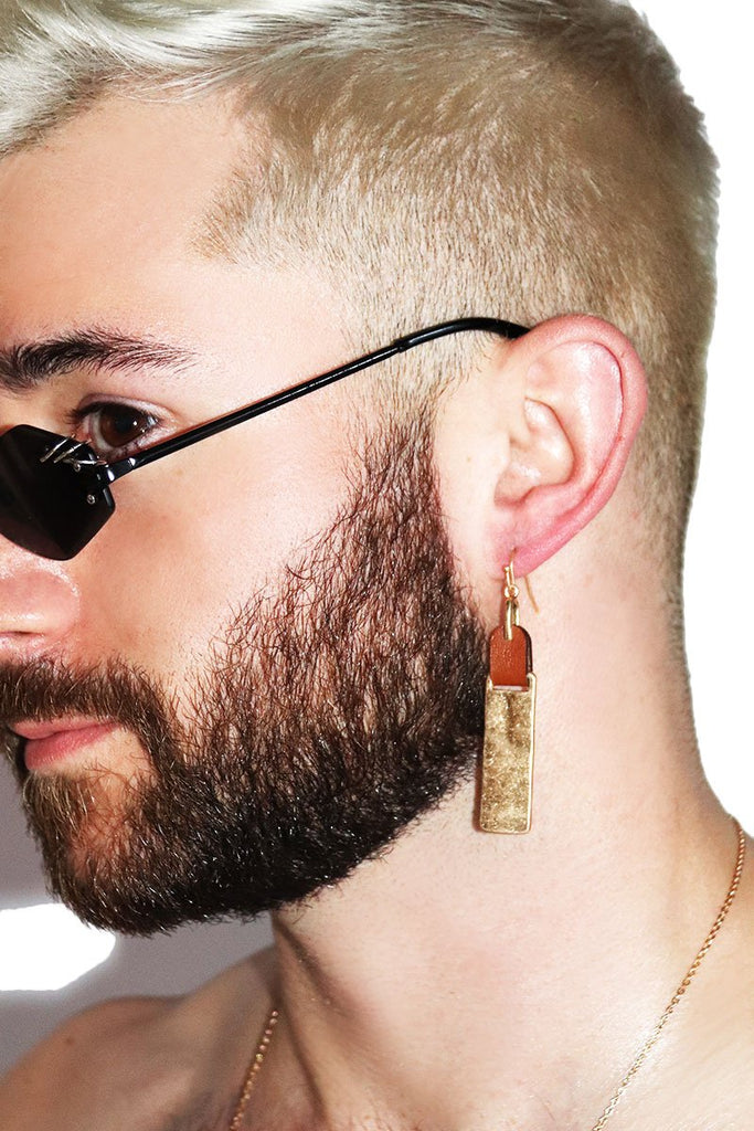 Leather Paddle Single Earring-Gold