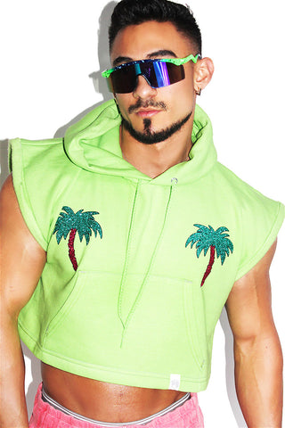 Palm Tree Pasties Sleeveless Crop Hoodie-Neon Green