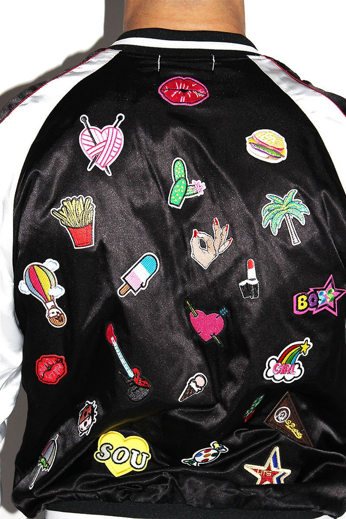 Patches Galore Satin Bomber Jacket-Black