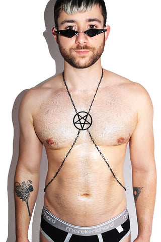 Acrylic Pentagram Chain Harness-Black