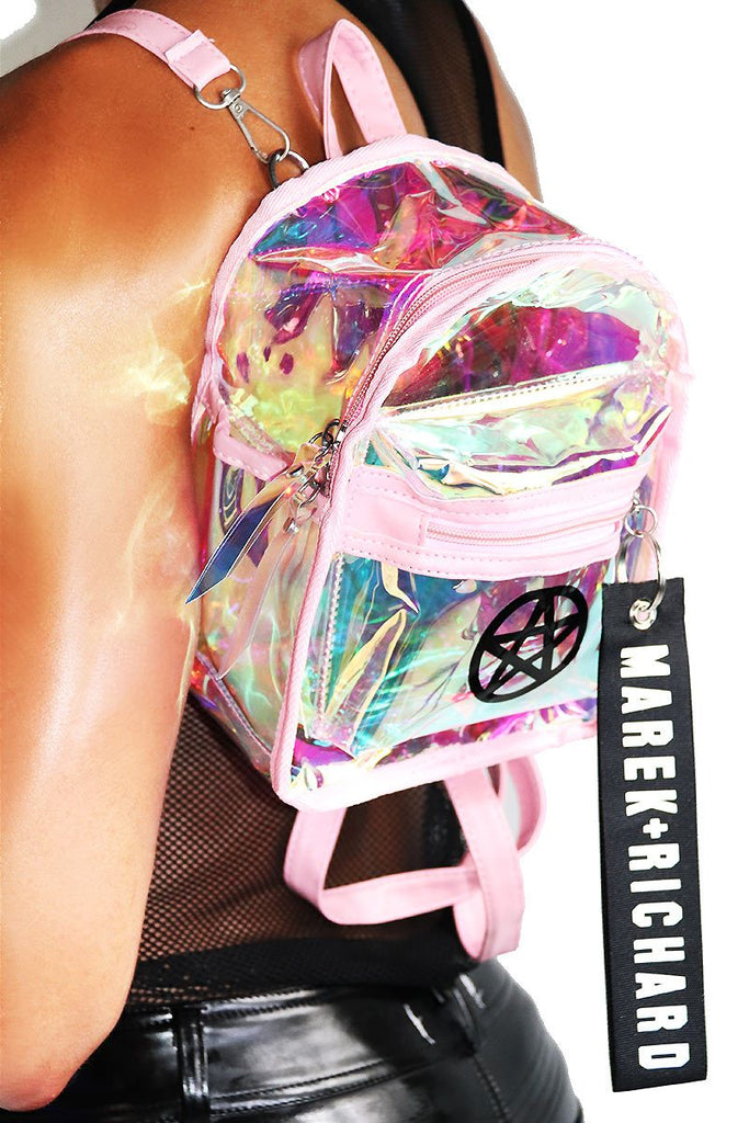 Pentacle Holographic Mini Backpack-Pink
