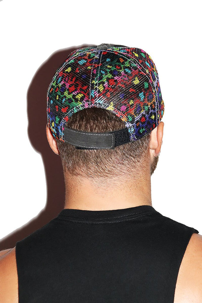 Pig Vintage Rainbow Cheetah Dad Hat - Black