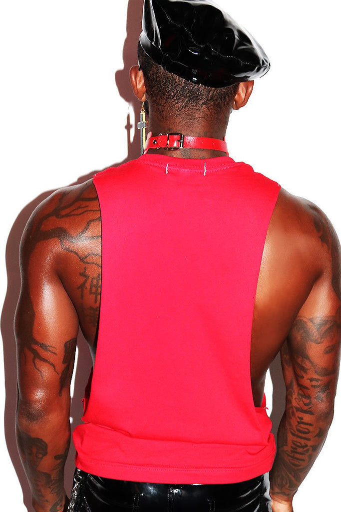 Pop Another One Low Arm Shedder Tank- Red