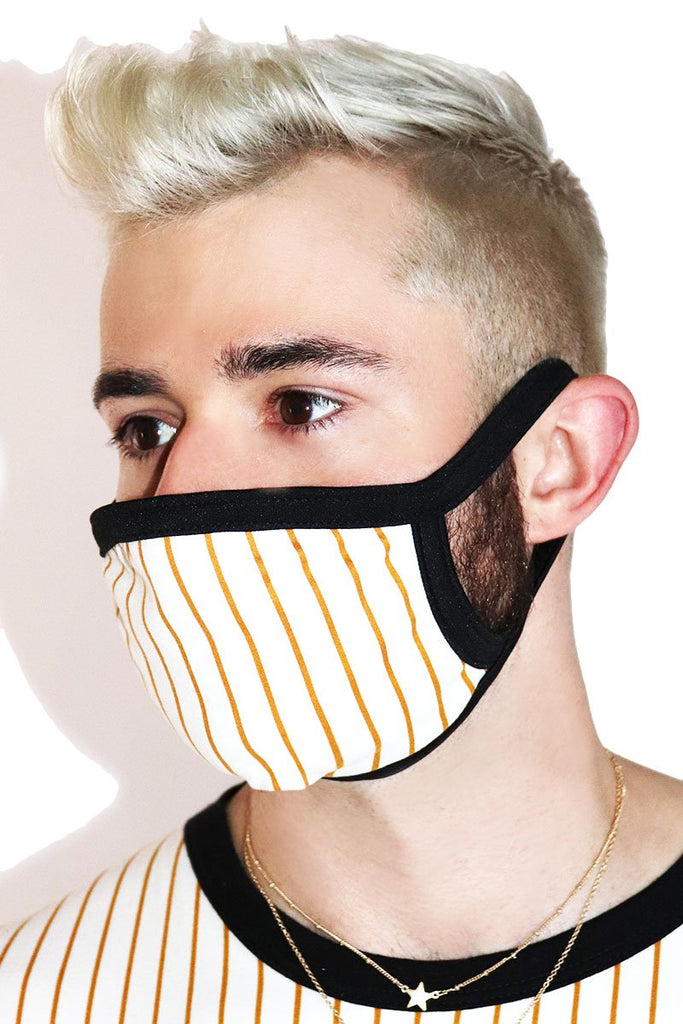 Pinstripe Face Mask- Black