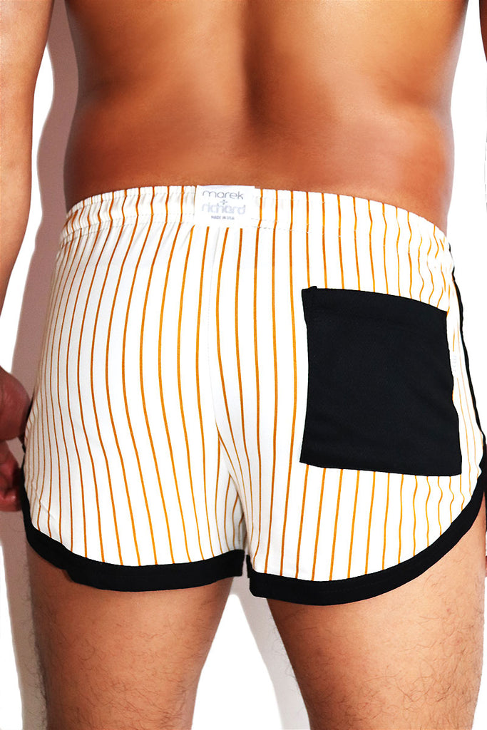Pinstripe Running Shorts-Cream