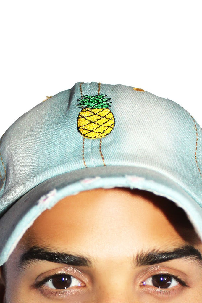 Destroyed Pineapple Dad Hat- Light Denim
