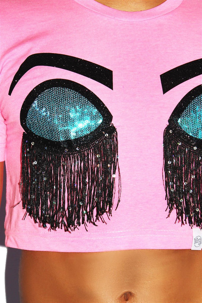 Sleeping Bitch Face Fringe Crop Tee- Neon Pink