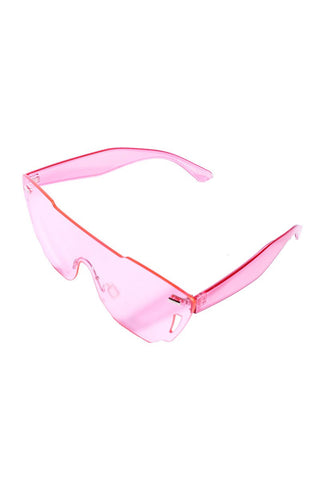 Clear Frameless Shield Sunglasses-Pink