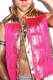 Fringe Metallic Vest-Gold