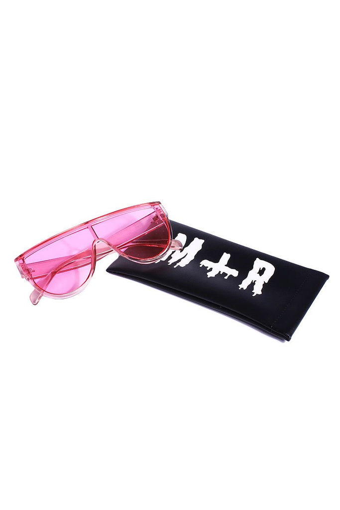 Thick Frame Shield Sunglasses-Pink