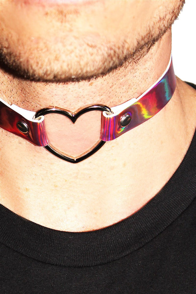 Holographic Heart Choker-Pink