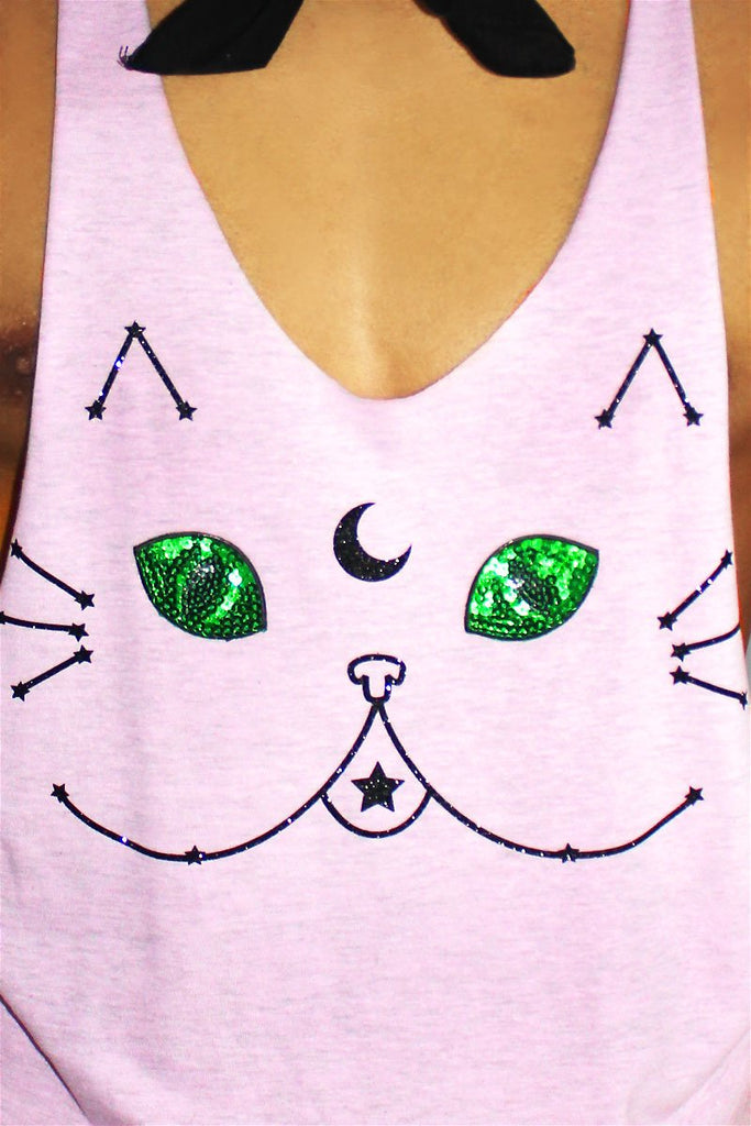 Kitty Constellation String Tank-Lilac