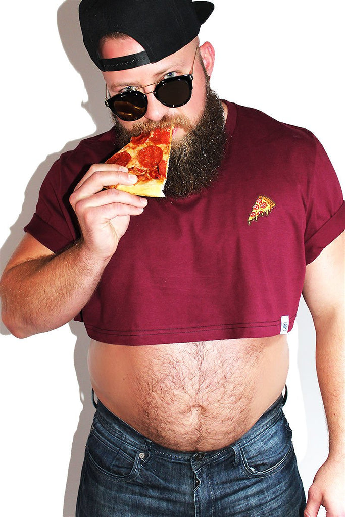 PLUS: Pizza Extreme Crop Tee-Burgandy