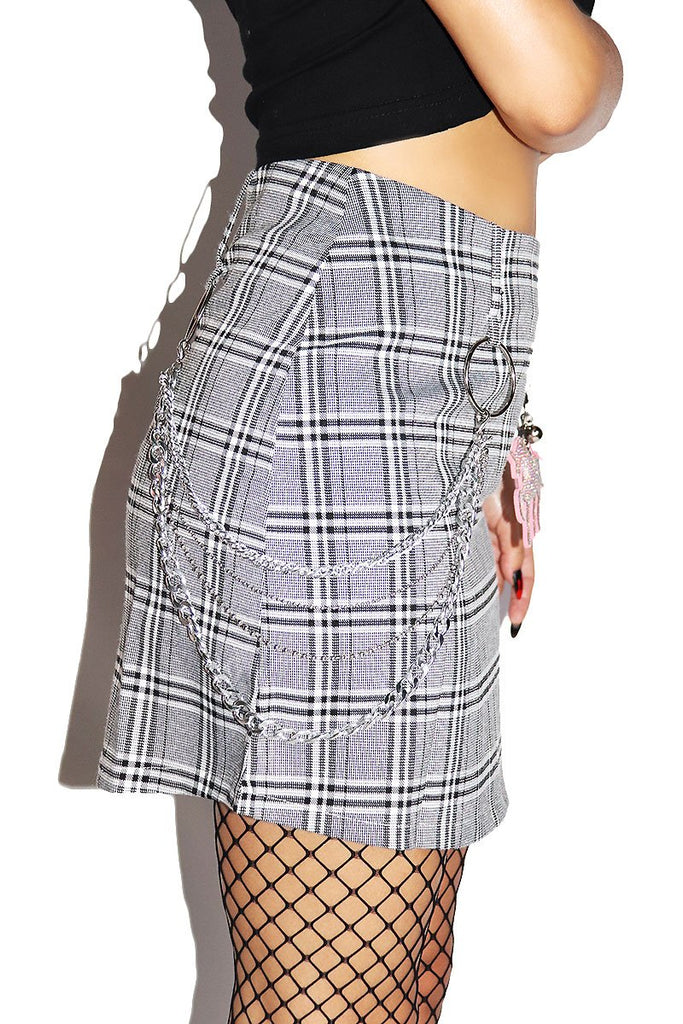Popular Girl Plaid Skirt-Black