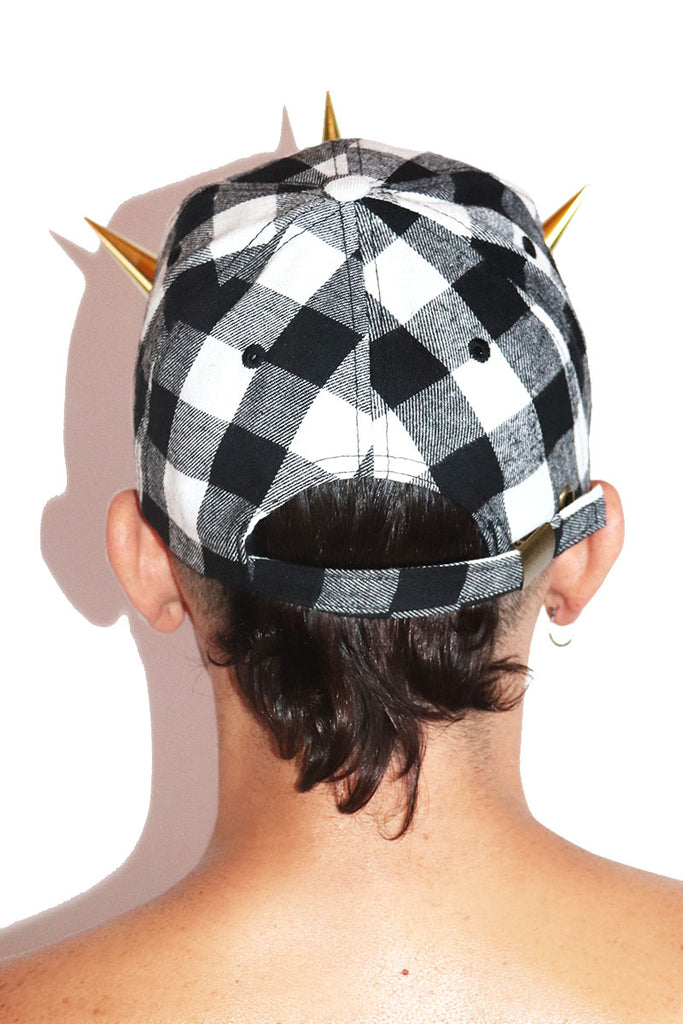 Punk Plaid Dad Hat- Black