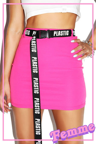 Plastic Stretch Mini Skirt-Pink