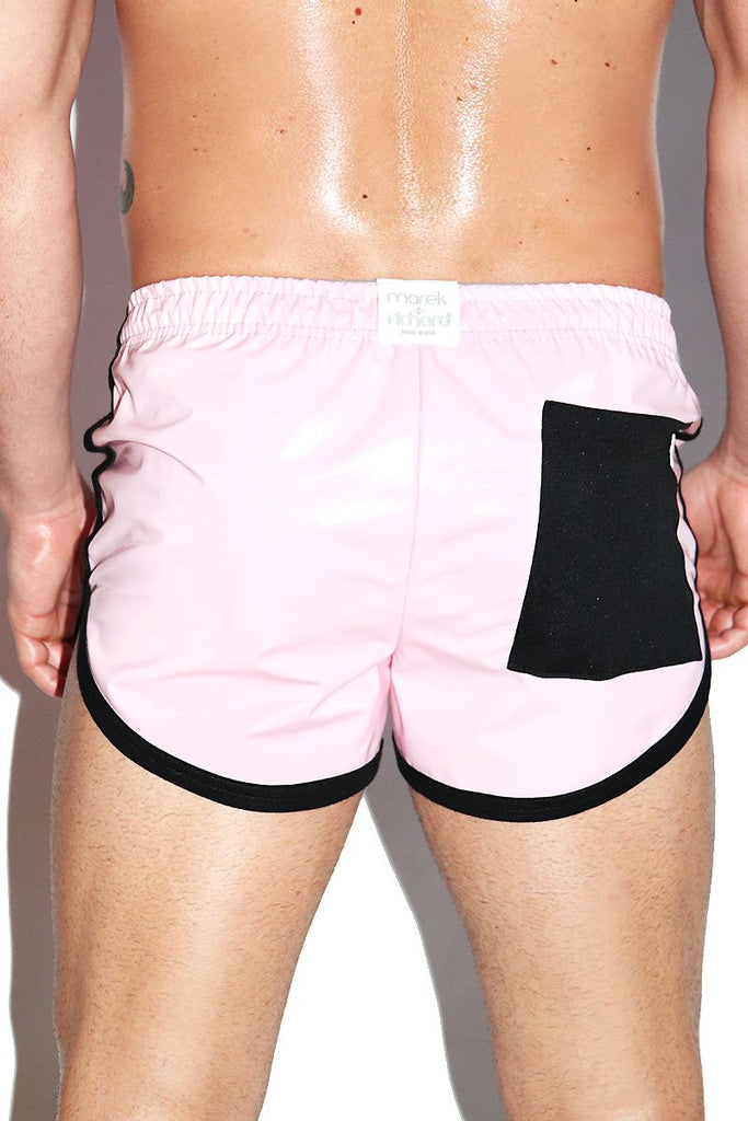 Pleather Running Shorts- Pink