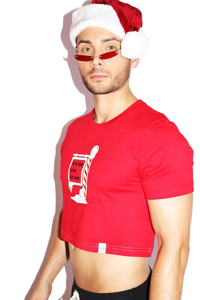 It's The Pole for Me Crop Tee- Red