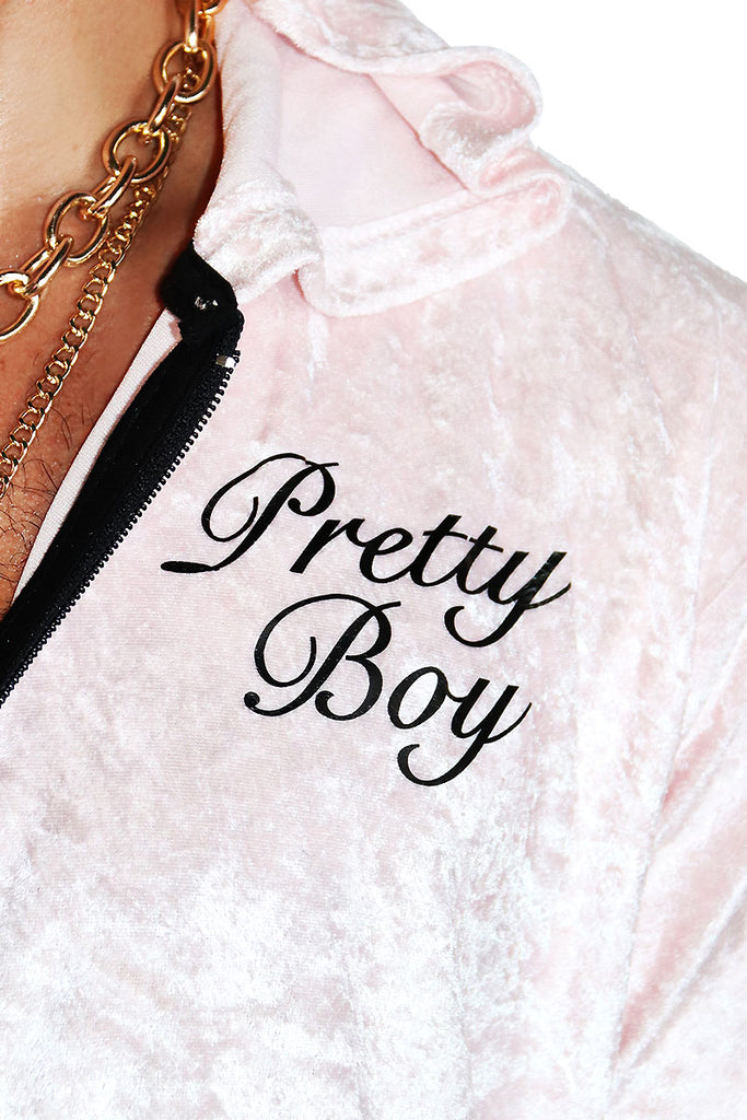 Pretty Boy Crushed Velvet Crop Hoodie-Pink
