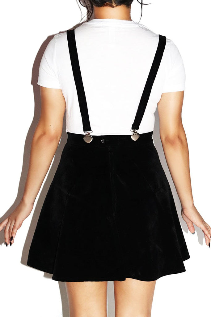 Hearts Velvet Suspender A-Line Skirt- Black