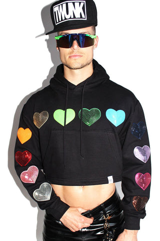 Pride Hearts Crop Long Sleeve Hoodie-Black