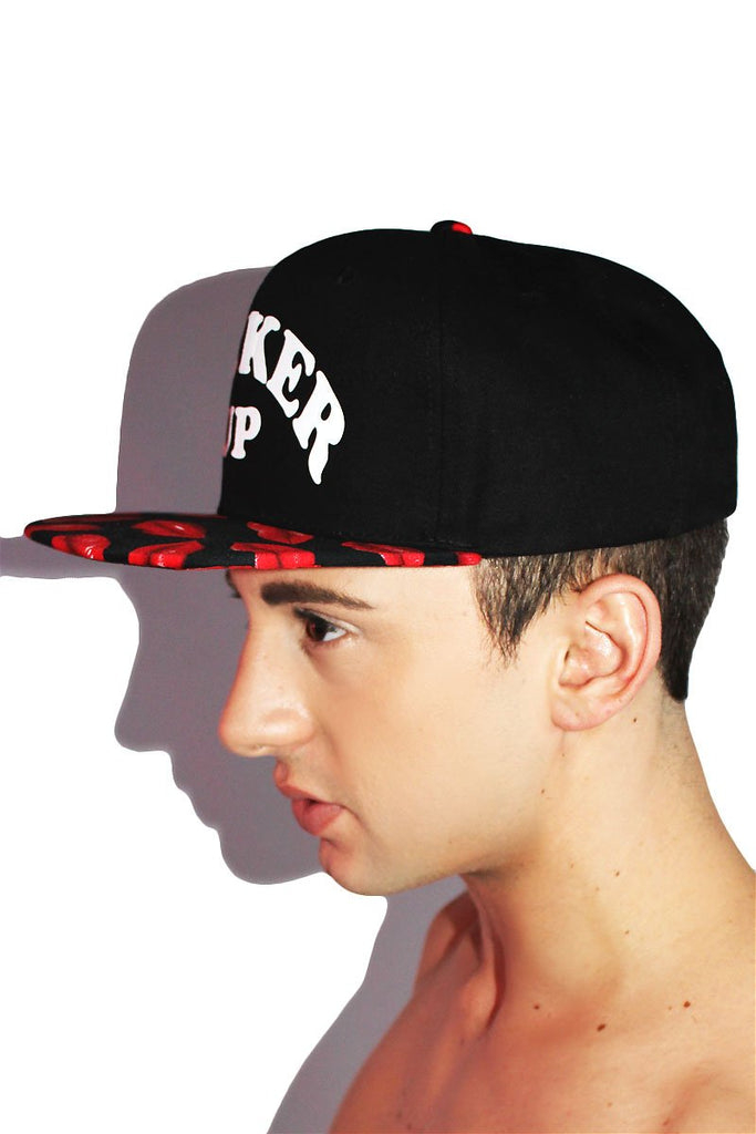 Pucker Up Kiss Snapback Hat- Red