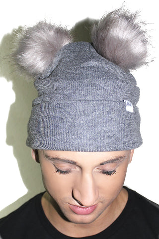 Double Pom Pom Beanie- Grey